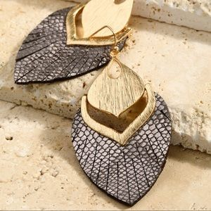Bronze vegan leather and gold earrings
